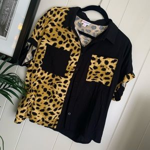 LuLaRoe Leopard Print Button Up with Pockets